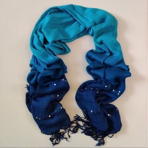 Blue ombré rectangle tassel hijab scarf